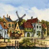 Gekleurd Keramiek Grachtenhuis Paard en Wagen - Tegel 15x15 cm - Kleur