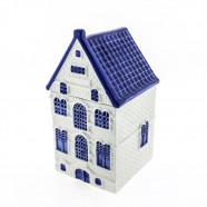 Canal house Storage Jar - Delft Blue - Gabled Roof