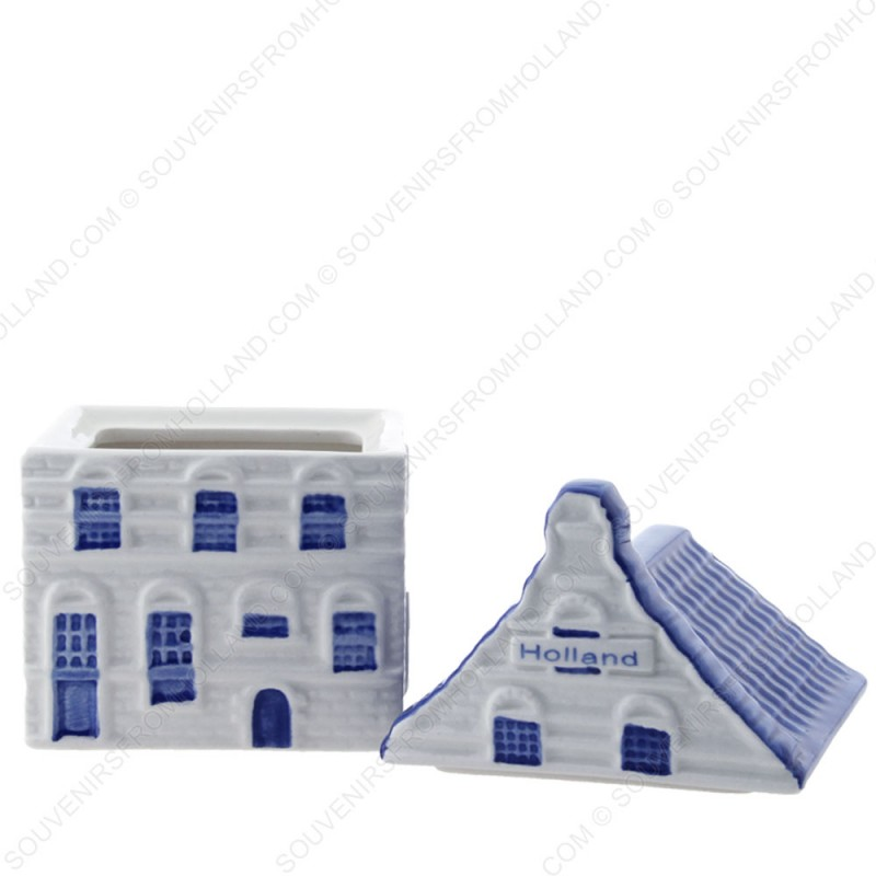 Canal house Storage Jar - Delft Blue - Pointed Gable