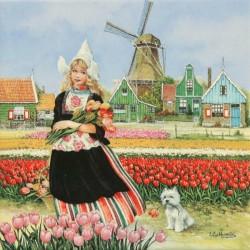 Tulpenmeisje in tulpenveld - Tegel 15x15 cm - Kleur
