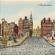 Gekleurd Keramiek Amsterdamse Grachtenhuizen - Tegel 15x15 cm - Kleur