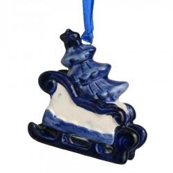 Kerstfiguren hangend Slede met Kerstboom - Kersthanger Delfts Blauw