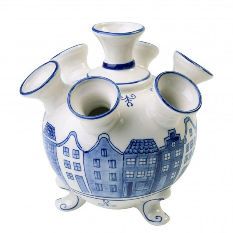 Grachtenhuizen Delfts Blauw - Tulpenvaas 17cm