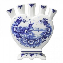 Windmill and Flowers Delft Blue - Heart Tulip Vase 16cm