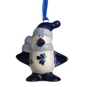 Kerstfiguren hangend Pinguin - Kersthanger Delfts Blauw