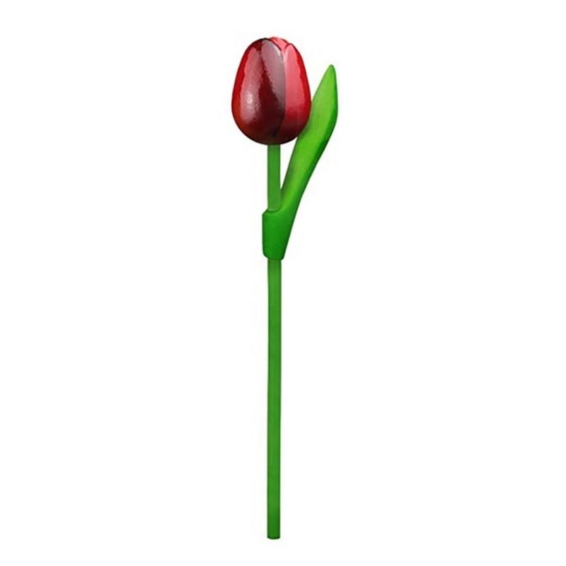 10 Red-Aubergine Wooden Tulips 20cm