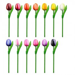 10 Red-White Wooden Tulips 20cm