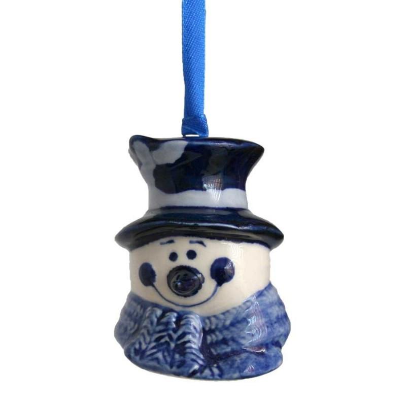 Kerstfiguren hangend Sneeuwpop Hoofd - Kersthanger Delfts Blauw