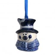 Sneeuwpop Hoofd - Kersthanger Delfts Blauw