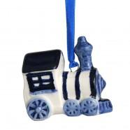 Kerstfiguren hangend Trein - Kersthanger Delfts Blauw