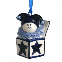 Kerstfiguren hangend Clown in Doos - Kersthanger Delfts Blauw