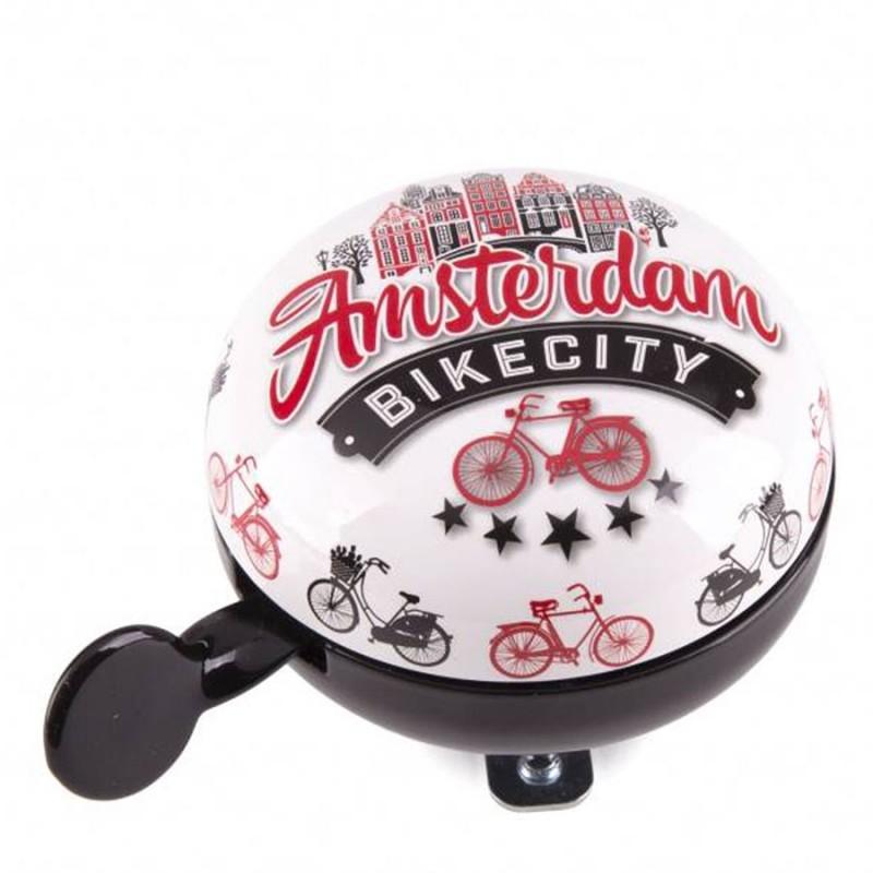 Fietsbel Wit-Zwart-Rood Amsterdam Fiets 8cm