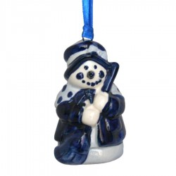 Sneeuwpop met Bezem - Kersthanger Delfts Blauw