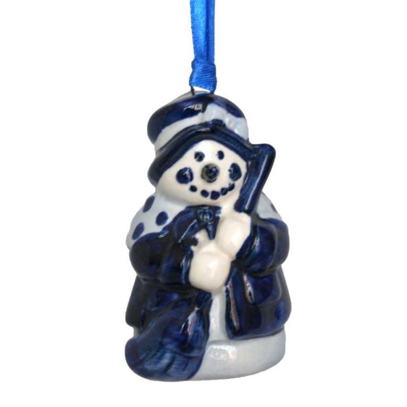 Kerstfiguren hangend Sneeuwpop met Bezem - Kersthanger Delfts Blauw