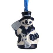 Kerstfiguren hangend Sneeuwpop met Schep - Kersthanger Delfts Blauw