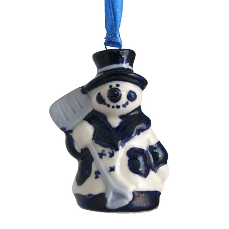 Sneeuwpop met Schep - Kersthanger Delfts Blauw