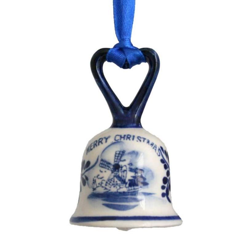 Kerstfiguren hangend Bel met Hartje - Kersthanger Delfts Blauw