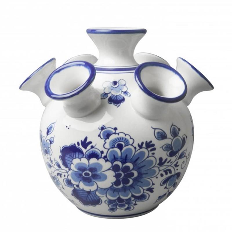 Tulip Vase Flowers - 17cm Delft Blue