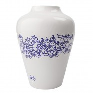 Flower Vase with Bicycle design - The Blue Bicycle no.2