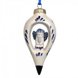 Kerstpegel met Engel - Kerst Ornament Delfts Blauw