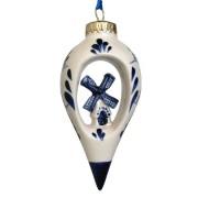 Kerstballen en pegels Kerstpegel met Molen - Kerst Ornament Delfts Blauw
