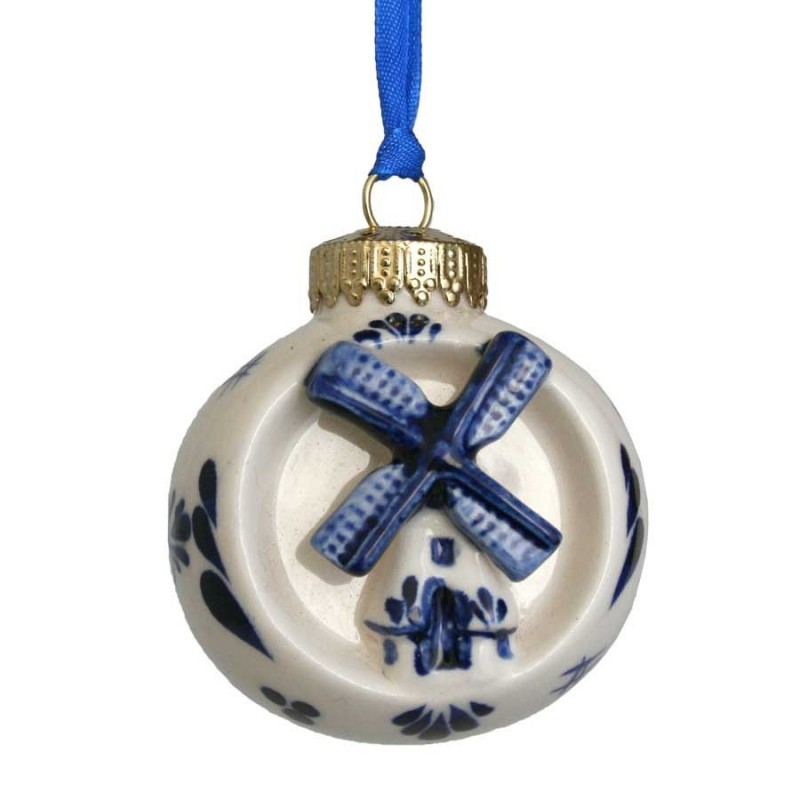 Kerstbal met Molen - Kerst Ornament Delfts Blauw