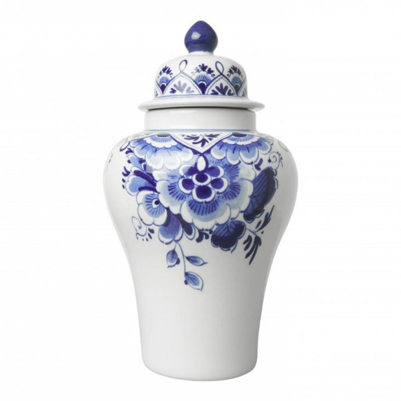 Vase with Lid - Flowers - 20cm Delft Blue
