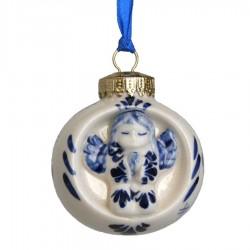 Kerstbal met Engel - Kerst Ornament Delfts Blauw