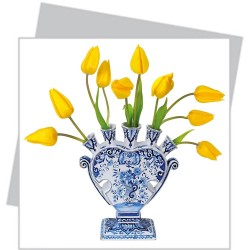 Flat Flower small - Yellow Tulips in Delft Blue vase