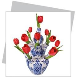 Flat Flower klein - Rode Tulpen in Tulpenvaas