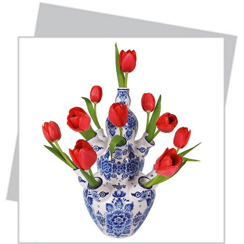 Delft Blue Red Tulips - Greeting Card