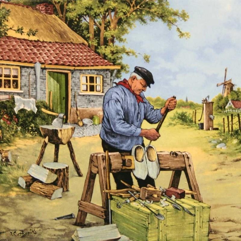 Clogmaker Wooden Shoe maker - Tile 15x15 cm - Color