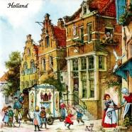 Draaiorgel op het Dorpsplein - Tegel 15x15cm - Kleur