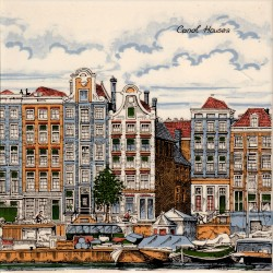 Amsterdam Canal Houses - set of 2 tiles - 30x15cm - Color