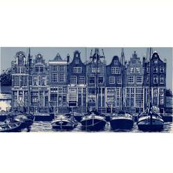 Amsterdamse Grachtenhuizen - set van 2 tegels - 30x15cm