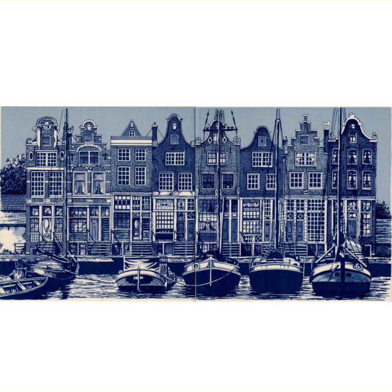 Amsterdam Canal Houses - set of 2 tiles - 30x15cm - Delft Blue