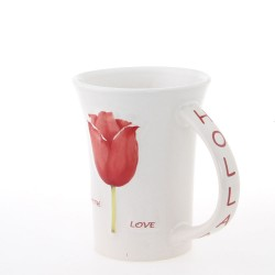 Holland Mug with Red Tulips 11cm