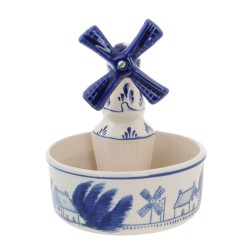Flower Pot with Windmill - Delft Blue