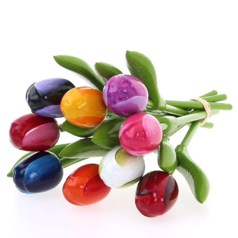 Gemengde Kleuren - Boeket Kleine Houten Tulpen
