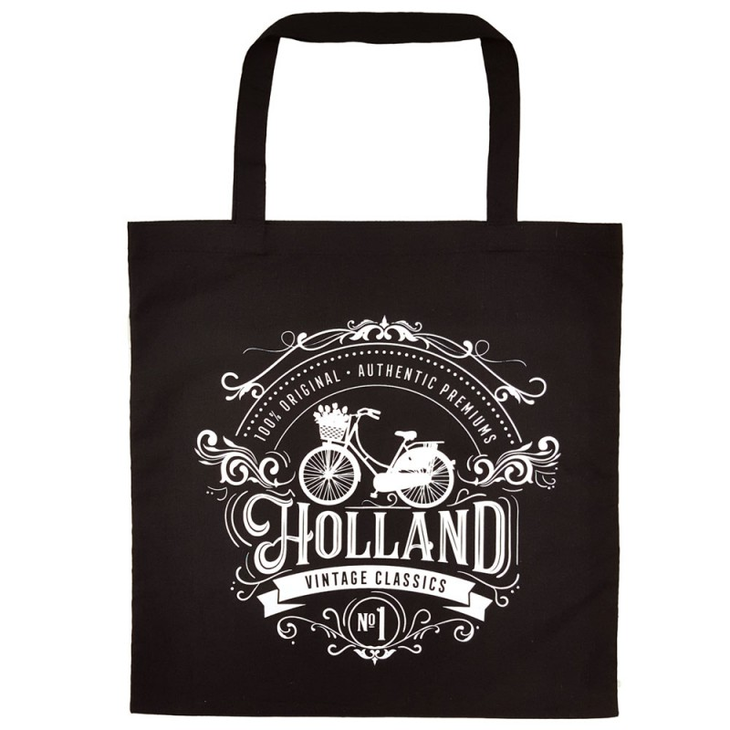 Black Holland Cotton Shopper - Shopping Bag 42,5cm
