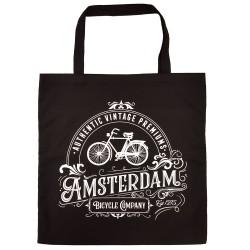 Black Amsterdam Cotton Shopper - Shopping Bag 42,5cm