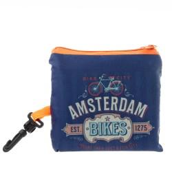 Blauwe Nylon opvouwbaar Amsterdam tasje - 40cm