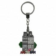 Amsterdam Canal Houses Bike - Keychain