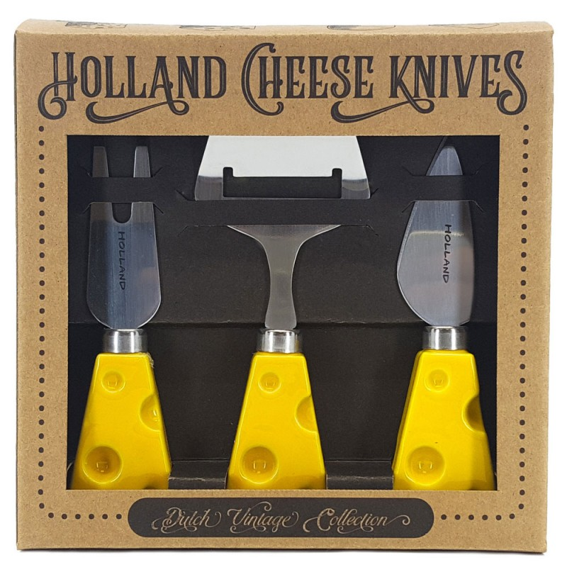 Yellow Cheese Slicer and Knives - set of 3