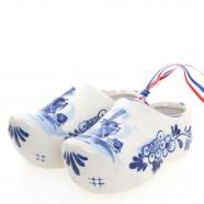 Pair of Ceramic Delft Blue Wooden Shoe - 12 cm