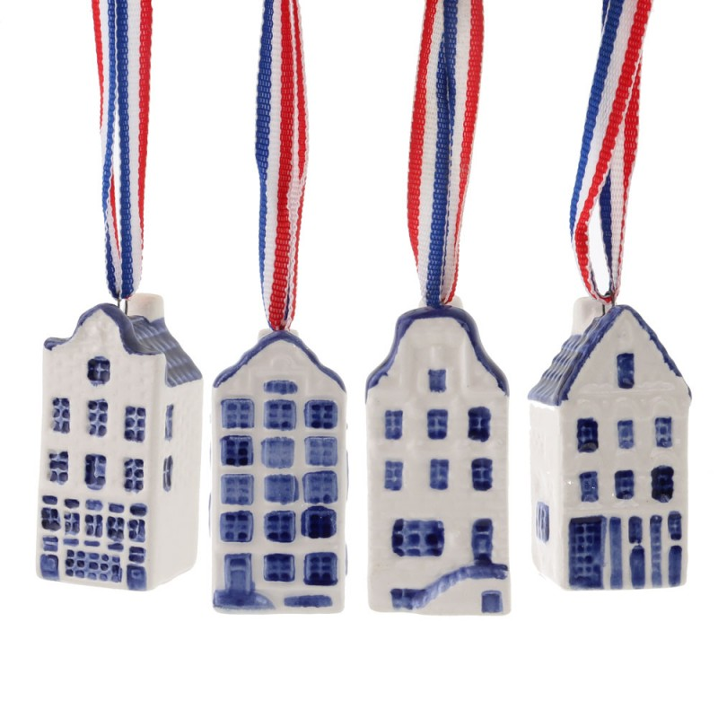 Miniature Canal Houses - set of 4 - Delft Blue