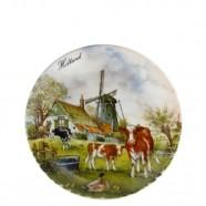 Wall Plate Windmill Cow - Medium 19cm