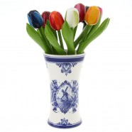 Delft Blue Chalice Vase with Wooden Tulips