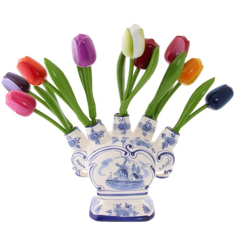Tulip Vase 20cm with Bunch Wooden Tulips