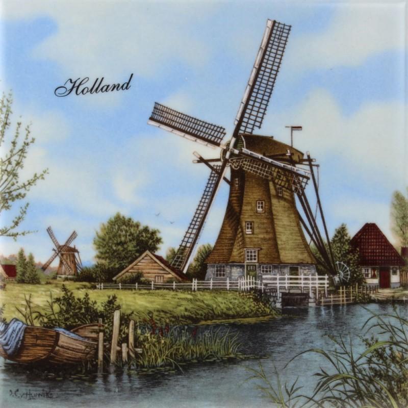 Windmolen Boot - Tegel 15x15 cm - Kleur